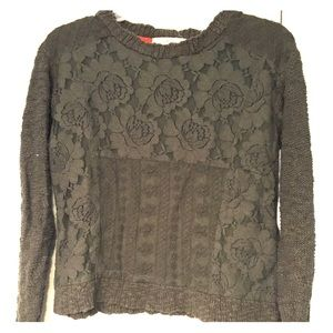 Cropped olive green floral lace overlay sweater